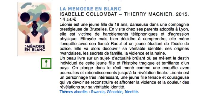 La mémoire en blanc - CRIL Rhône